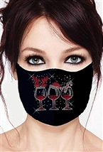 100% Cotton 2 Layer mask with filter pocket #M. 3 WINE GLASSES