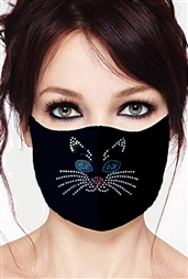 100% Cotton 2 Layer mask with filter pocket #M, full kitty