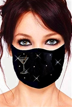 100% Cotton 2 Layer mask with filter pocket #M. martini glass