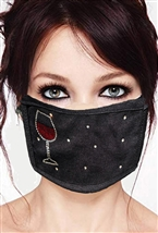 100% Cotton 2 Layer mask with filter pocket #M. wine glass