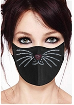 00% Cotton 2 Layer mask with filter pocket #M. kitty whiskers